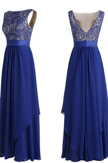 Women's Elegant Sleeveless Chiffon Lace Bridesmaid Dress V-back Evening Gown Prom Party Dress PD067