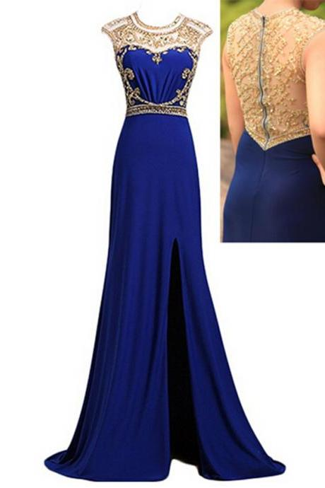 Women's Scoop Chiffon Prom Dress Column Beaded Evening Dress Sexy Prom Gowm with Slit PD077