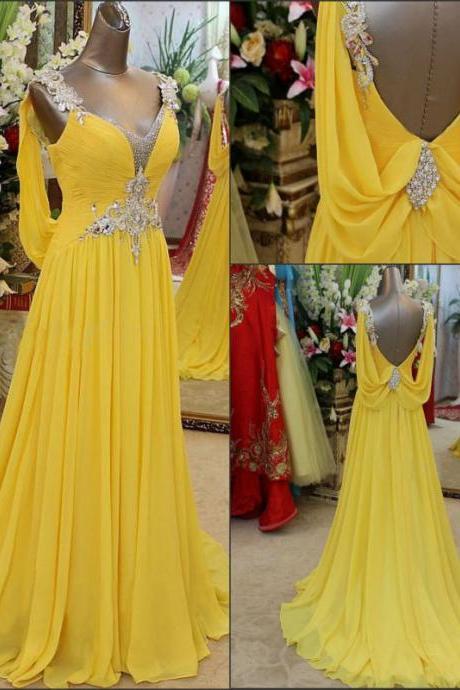 Long Prom Dress,Chiffon Prom dresses,Backless Prom dress,Crystal prom Gown,Party Prom Dresses,Evening Prom Gown,Yellow Prom Dresses,PD148