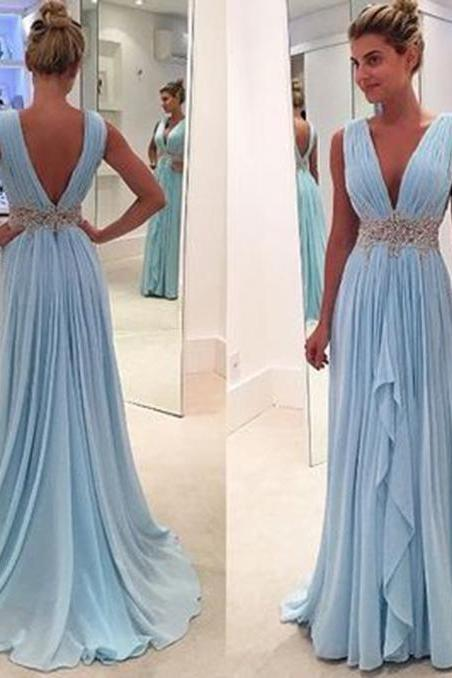 Women's 2017 Deep V-Neck Long Prom Dress Chiffon Wedding Party Dresses with Beadings PD175