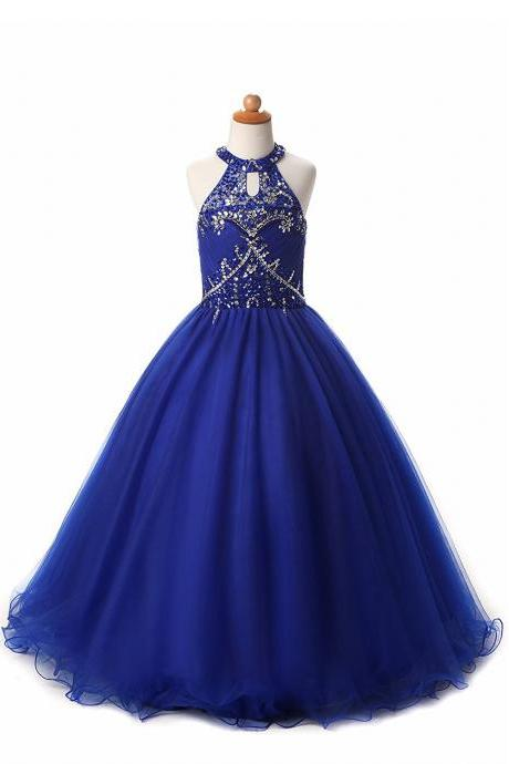 2017 Girls High Neck Beads Flower Girl Pageant Ball Gowns Tulle Beading Flowergirl Party Dresses Royal Blue Flower Girl Dress PD212