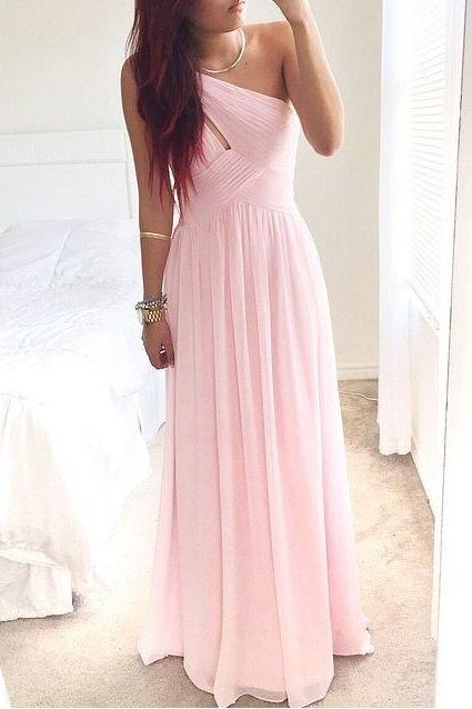 Women's Pretty Pink One-Shoulder Simple Chiffon Bridesmaid Dress,Long A-Line Bridesmaid Dresses PD262