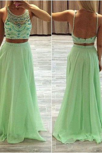 Women's Sexy 2 Pieces Green Chiffon Homecoming Dress,Beaded Rhinestone Long Backless Homecoming Dresses PD272
