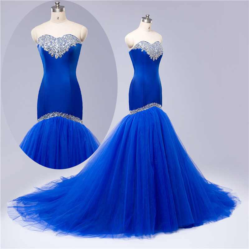 Women 39 s royal blue elegant sweetheart beaded satin prom for Diamond mermaid wedding dresses